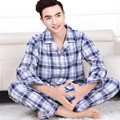 Classic Plaid Pajamas Men Spring and Autumn Woven Cotton Long sleeve Sleepwear Mens Cardigan Pyjamas