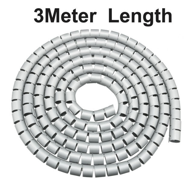 Uxcell 20mm Flexible PE Insulated Spiral Tube Cable Wire Sleeve Protector Wrap Computer Manage Cord 3M 5M Black Gray White