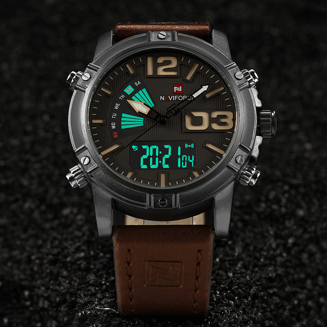 NAVIFORCE Men's Watches Leather Military Waterproof Men Watch Relogio Masculino With Box Set For Sale Digital Male Clock NF9095