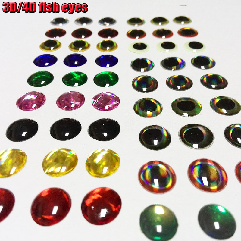 50PCS 4D Holographic Fish Eyes Dragon Eye for Fly Tying Streamers Baitfish