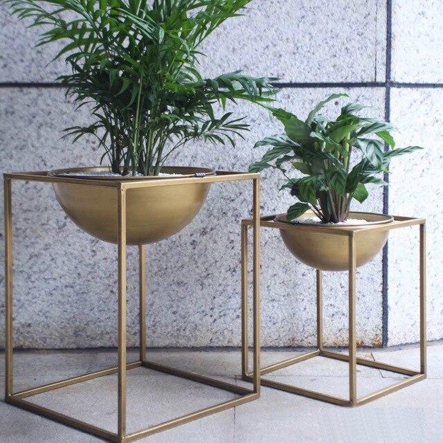 Blumentopf Modern gold moderne boden bonsai metall platz blume blumentopf tablett