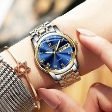 817e634fc39 Negócio ontheedge ouro azul das mulheres da marca de luxo relógios de pulso  de quartzo women watch ladies relógios mulher relógi.