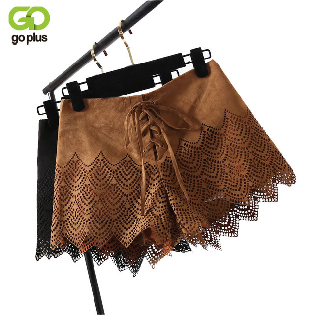 GOPLUS Soild Brown Suede Lace Up High Waist Shorts Punk Style Women Short Hollow Out Ladies Sexy Casual Streetwear Hot Shorts