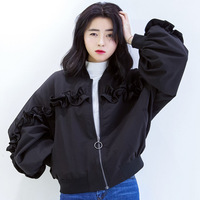 Women Autumn New Korean Pilot Jacket Female O Neck Solid Color Loose Casual Ruched Baseball Clothing
