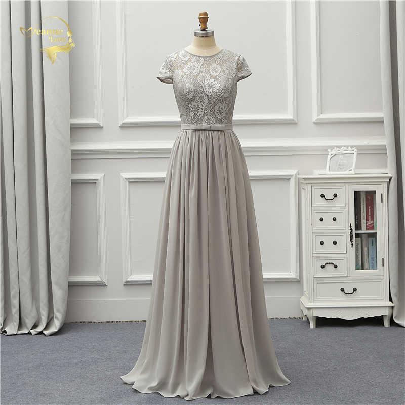 f57ce318ef2 Жанна любовь Формальное вечернее платье Кружева шифон элегантные с коротким  рукавом серый Вечерние платья Robe De