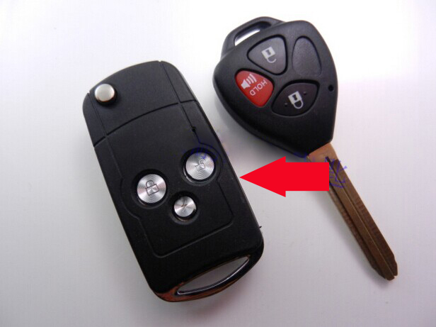 Car Key Blank Modified Flip Folding Remote Key Shell Case For Toyota Camry 3 Buttons Fob ...