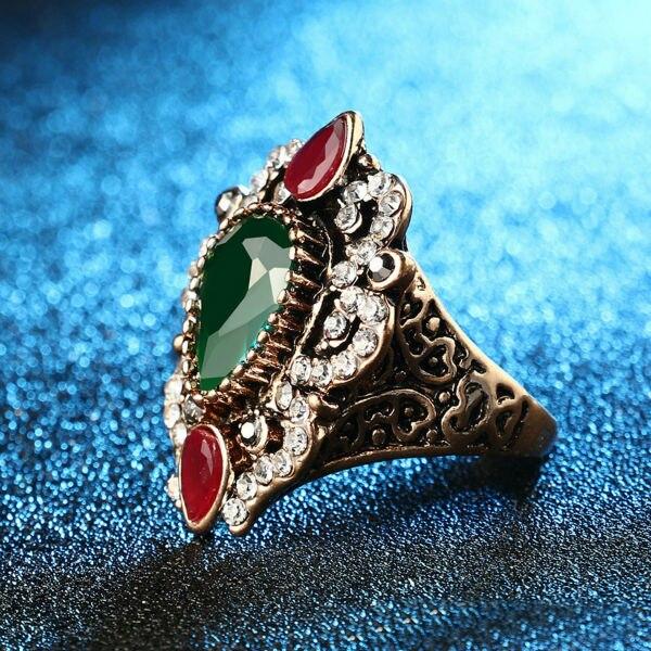 comprar anillo turco oro antiguo color de la flor de la joyera diseo nico real mosaico rojo verde grano de la resina del anillo de