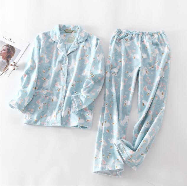 Women Sleeping Wear Autumn Winter Casual  Pajama Sets Cotton Cartoon Printed  Home Clothing Set