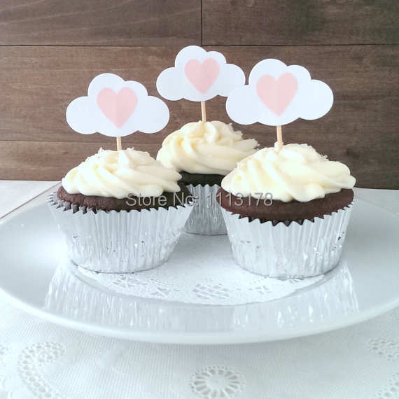 Gender Neutral Baby Girl Shower Cupcake Toppers   Baby Shower Cloud Cupcake  Picks   Pink Hearts