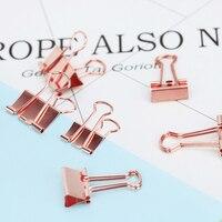 TUTU 6pcs/lot Solid Color Rose Gold Metal Binder Clips Notes Letter Paper Clip Office Supplies H0059