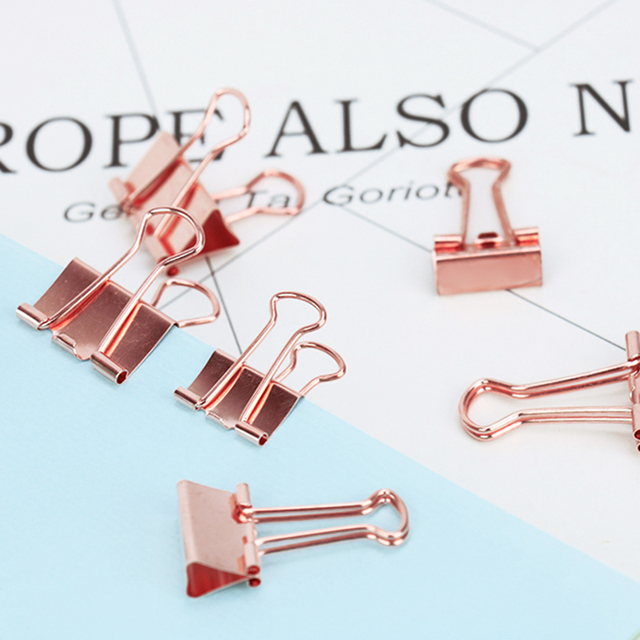 TUTU 6pcs/lot Solid Color Rose Gold Metal Binder Clips Notes Letter Paper Clip Office Supplies H0059
