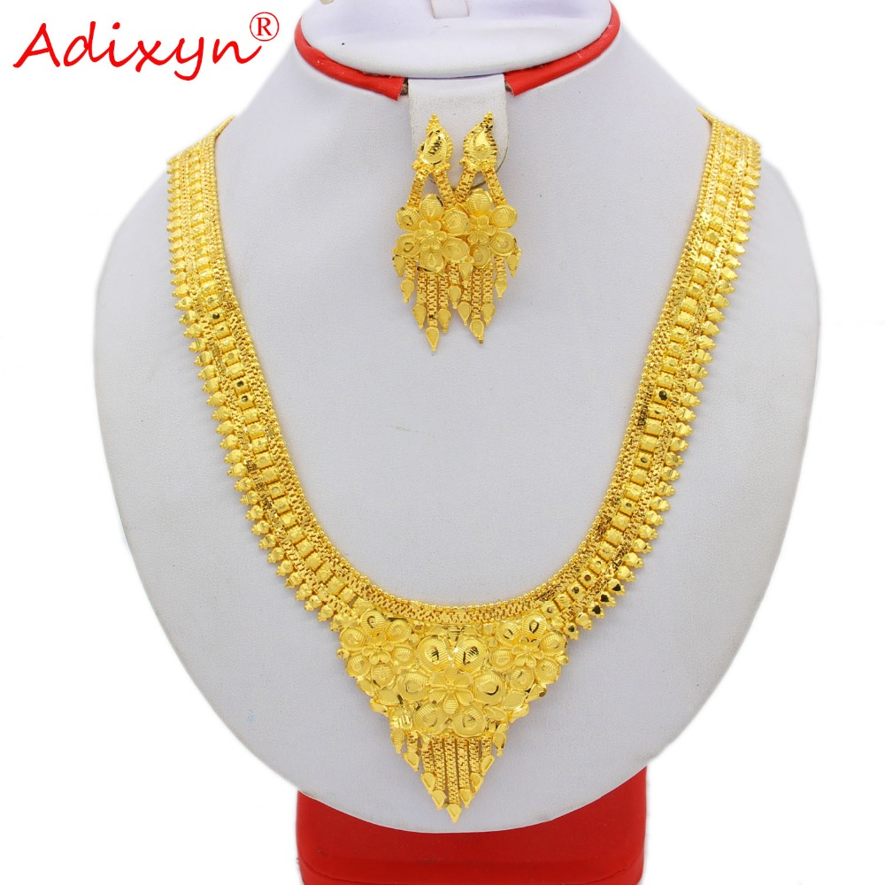 Adixyn 60cm 24inch Necklace Earrings Jewelry Set For Women Gold Color Copper African Ethiopian Dubai Wedding