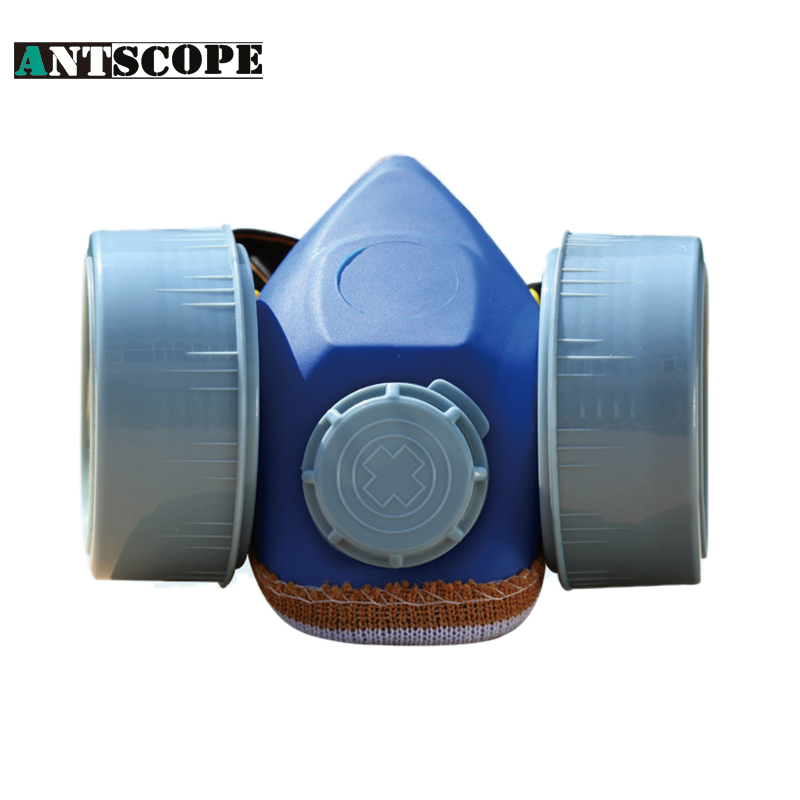 Working Dust Mask Double Cartridges Filter Cotton Chemical Respirator Blue Gas Mask Spray Pesticide/Painting Industrial Masks silicone abs dust filter respirator mask dark grey
