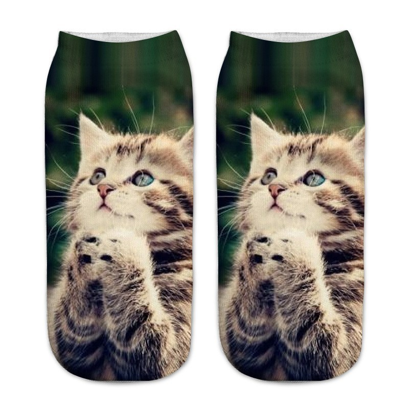 1Pair New Children 3d Printed Cat Ankle Kids Short Teenagers Boy Boys Girls Socks Knee Cushions Girl Socks