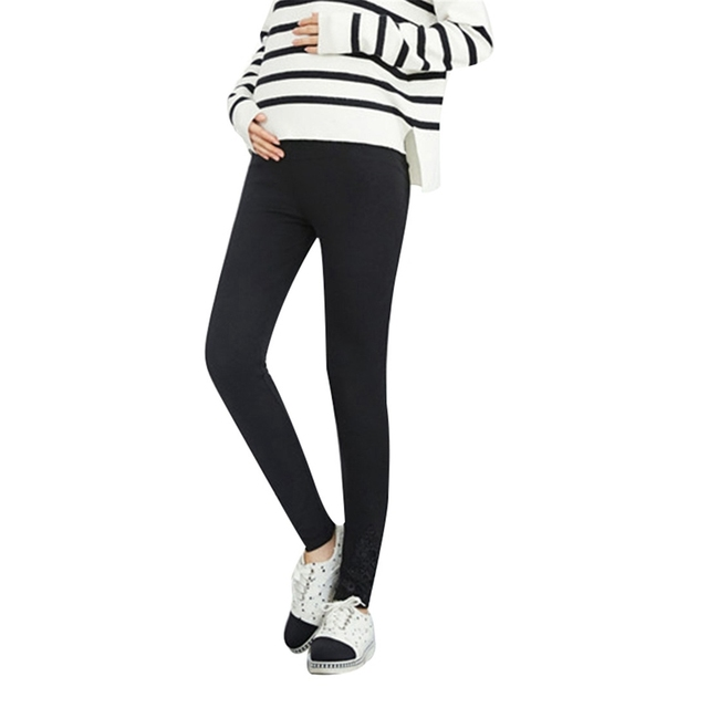 Fashion Maternity Leggings Warm Clothes Lace Pregnancy Trousers Leggings for Pregnant Women Maternity Clothing Pants