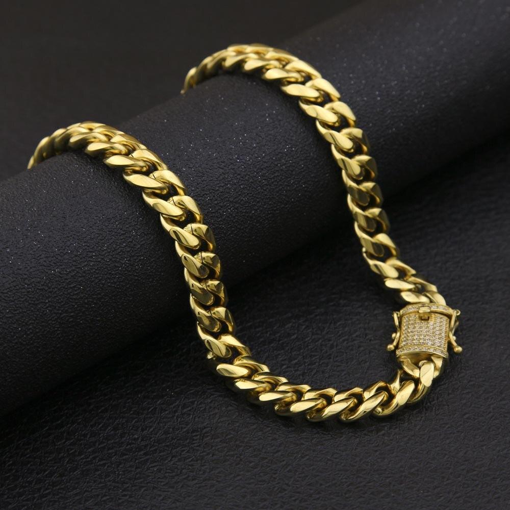 Chaîne cubaine en acier inoxydable avec Bling CZ cubique zircone fermoir fermoir de luxe collier 12/14mm Hip hop bijoux pour hommes - 2