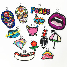 Various Cartoon death skull peace doodle Patch Embroidered Applique Sewing Clothes Stickers Garment Apparel Accessories.