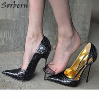 Sorbern Plus Size 2018 Women Pumps Shoes 14CM Metal Thin Heels Buckle Strap Large Size Ladies Party Pumps Sexy Shoes