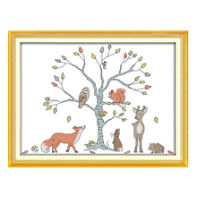 Joy Sunday cross stitch kits diy tree and animal DMC14CT 11CT cotton fabric baby room child toy gift painting factory wholesale