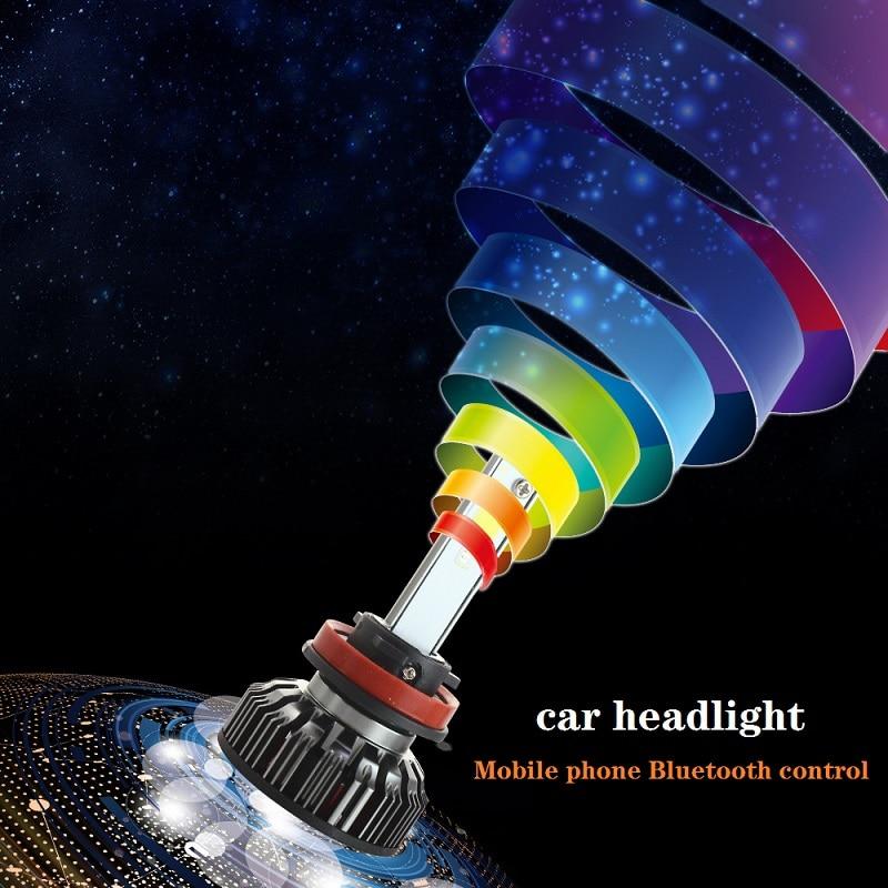 2x Voiture RVB LED voiture Phare H1 H3 H4 H7 H8 H11 9005 9006 H13 9012 5202 ampoule LED APPLICATION Contrôle Bluetooth multicolore 50 W 7200LM