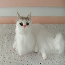 small cute simulation cat toy polyethylene & furs handicraft white cat model gift about 16x9cm