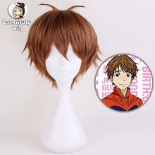 Anime Yuri on Ice Short Brown Cosplay Wig Men Heat Resistant Synthetic Hair Wigs For Costume Party + Cap