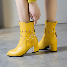 YMECHIC Fashion Buckle Rivet Block High Heel Boots Woman Yellow White Black Womens Shoes Winter Ankle Boots 2019 Footwear Bootie