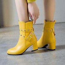 YMECHIC אופנה אבזם מסמרת בלוק גבוהה עקב מגפי אישה צהוב לבן שחור נשים נעלי חורף קרסול מגפי 2019 נעלי הנעל