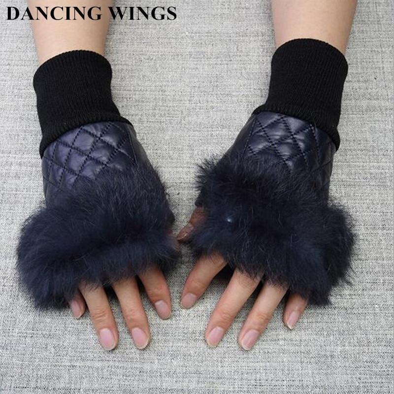 Winter Fashion Real Rabbit Fur Fingerless Glovess