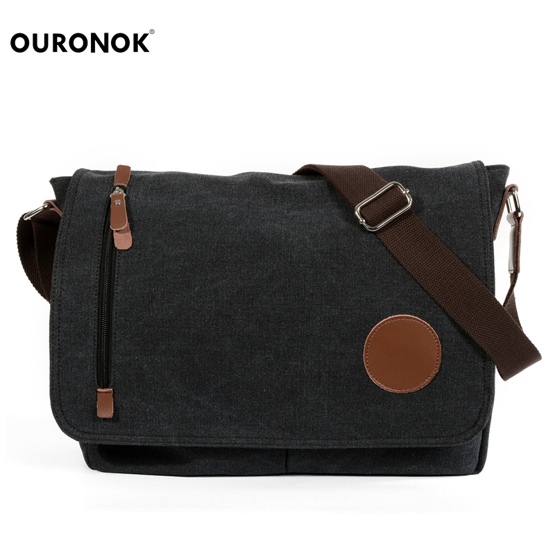 OURONOK Men Messenger Bags Small Handy Male Pouch Belt Purse Messanger Bags Canvas Shoulder Unisex Bags Travel Bolsa Masculina