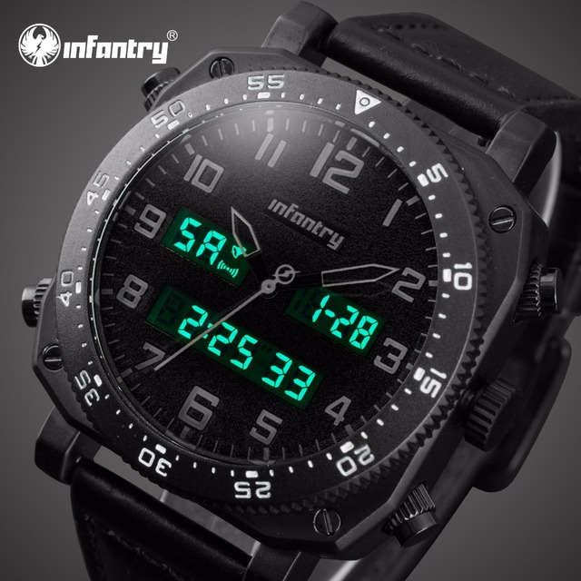 INFANTRY Mens Watches Top Brand Luxury Analog Digital Watch Men Big Military Sport Watches for Men Leather Relogio Masculino