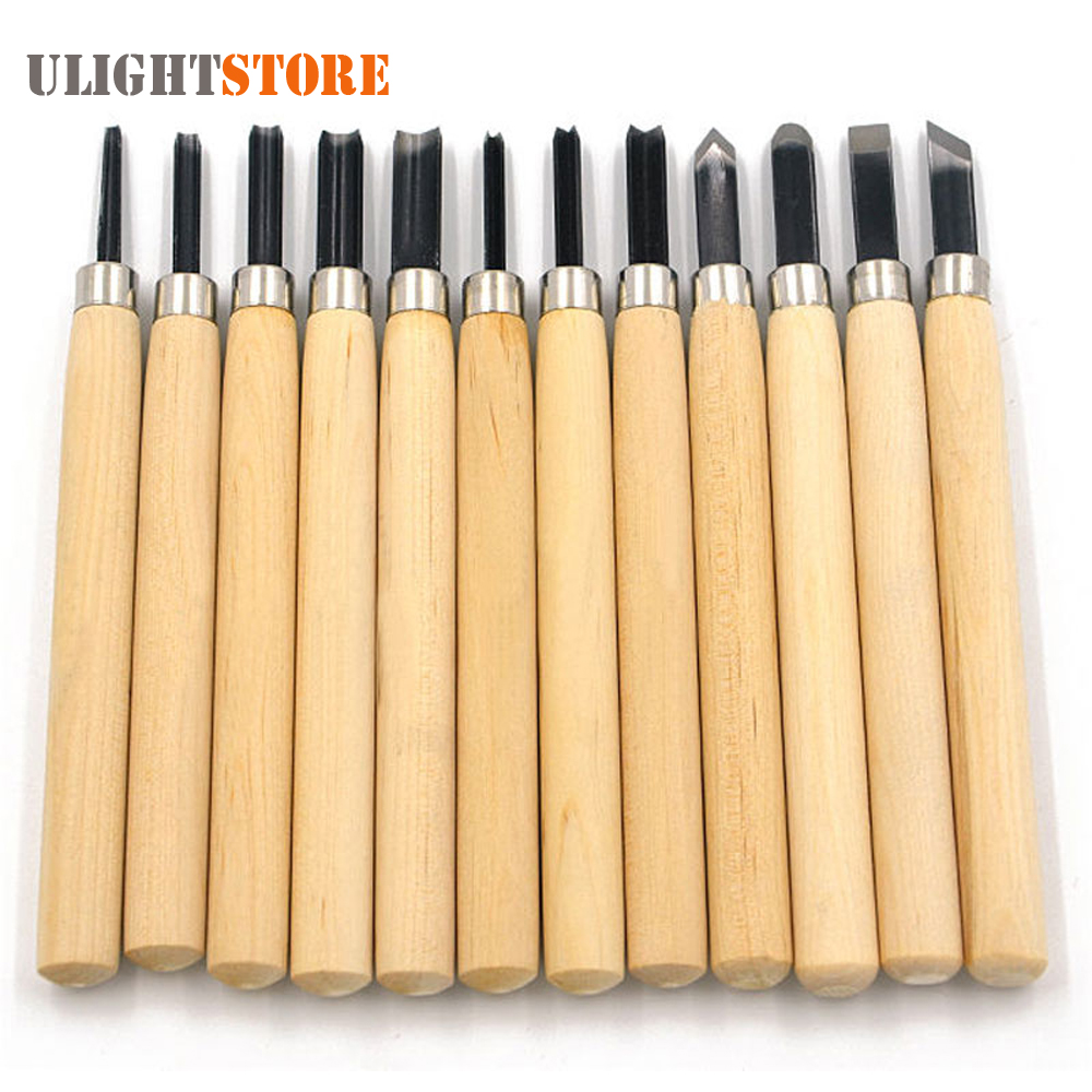 12pcs Professional Wood Carving Chisel Knife Hand Tool Set For Basic Detailed Carving Woodworkers Gouges цена