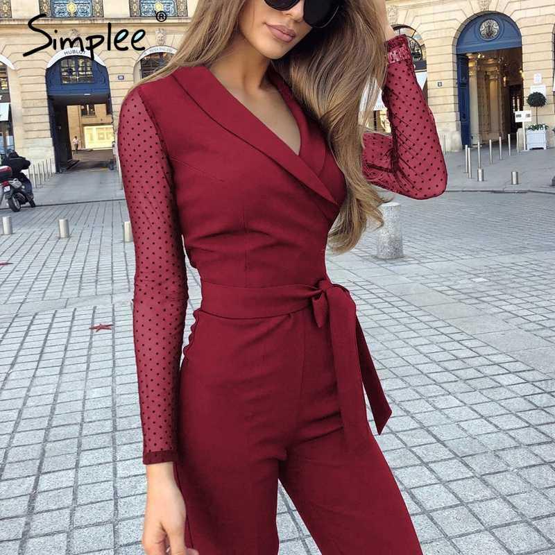 Simplee сексуальный женский комбинезон с v-образным вырезом, элегантный комбинезон с длинными рукавами для офиса, женский комбинезон с поясом, большие размеры, Красный Длинный комбинезон, комбинезон