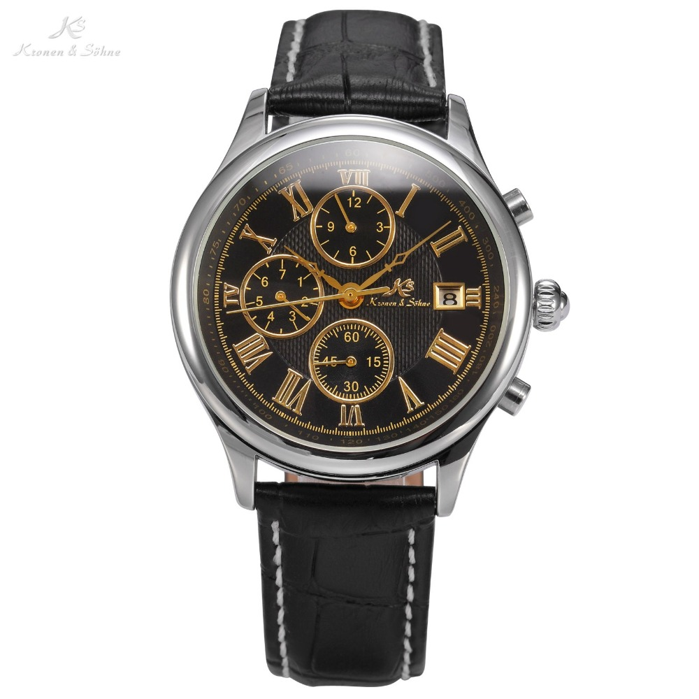 IMPERIAL KS Retro Skeleton 6 Hands Date Mineral Glass Luxury Brand Calendar Black Leather Strap Men Male Mechanical Watch /KS147 купить недорого в Москве