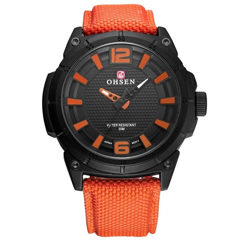 OHSEN новый простой кварцевые часы мужские деловые черный нейлон ремешок мужские часы лучший бренд Роскошные водонепроницаемые светящиеся н...