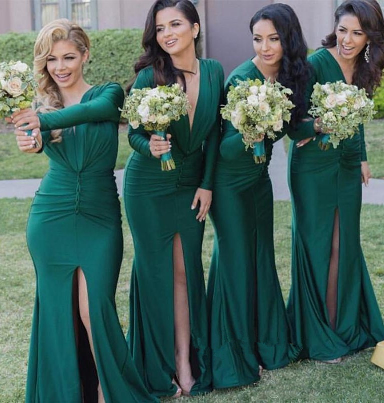 Long Sleeve Hunter Green Long Bridesmaid Dresses With Slit 2019 Fashionable V Neck Mermaid Maid Of Honor Junior Wedding Guest Go