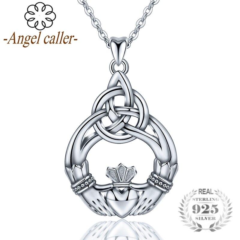 Ange appelant réel 925 argent Claddagh femmes pendentif colliers magnifique couronne couple mode bijoux en argent Sterling CYD189