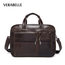 VERABELLE 2017 Men's business top-hand Handbag oil-waxing briefcase high quality genuine leather top-grain laptop shoulder Bag