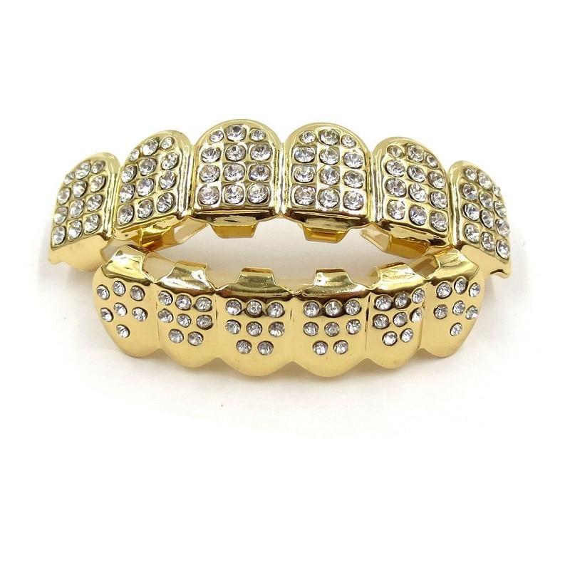Metall Kupfer Zahn Grills Gold Farbe Kristall Dental Grillz Top Bottom Hiphop Zähne Caps Körper Schmuck für Frauen Männer Mode