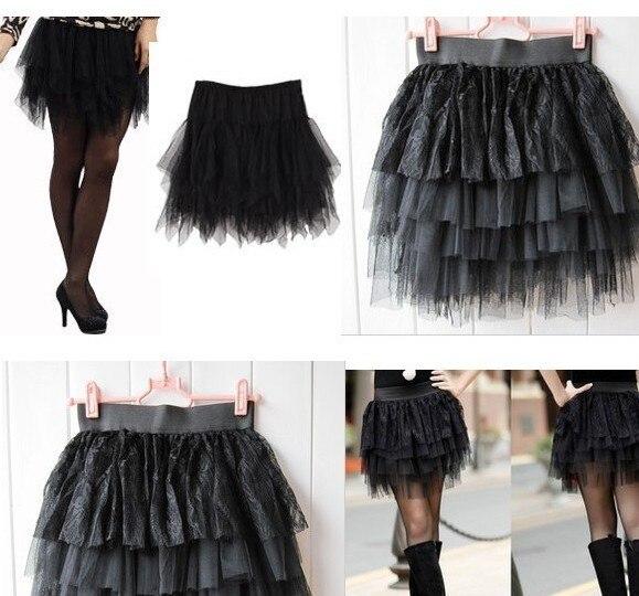 692f04ff10 Fashion Female Short Skirts Layered Tulle Bust Cake Skirt Black Lace Mini  Skirt Free Shipping