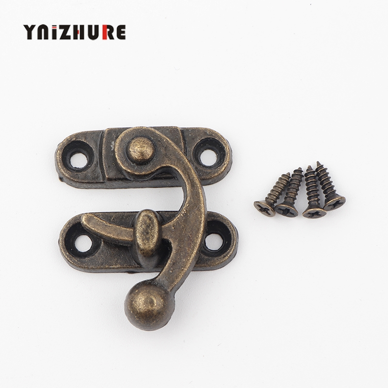 2pcs Vintage Zinc Alloy Metal Lock Jewelry Box Gift Latches Clasp Hasp Purse  Pad Chest Lock Antique Wooden Case Buckle 4 Holes