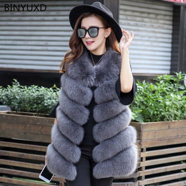 BINYUXD Winter Warm Vest New Arrival Fashion Women Import Coat Fur Vest High-Grade Faux Fur Coat Fox Fur Long Vest  Plus Size