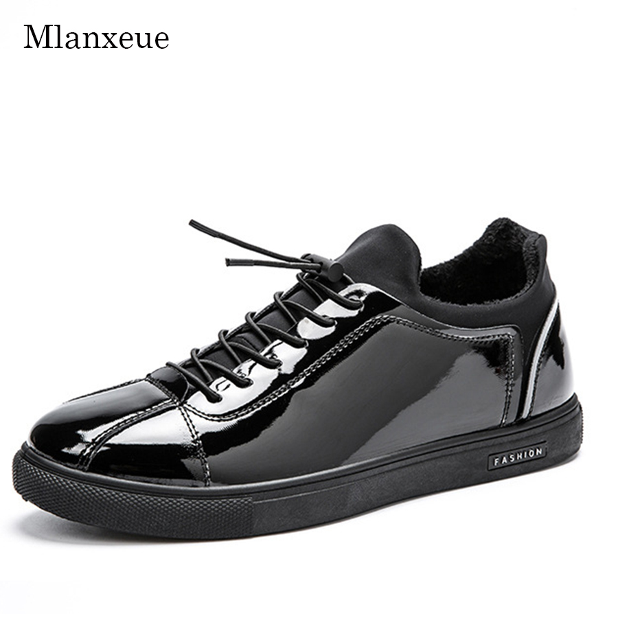 Mlanxeue Spring Men Warm Casual Shoes Patent Leather Shoes Classic Black Shoes Fashion Add Plush Breathable Shoe gram epos men casual shoes top quality men high top shoes fashion breathable hip hop shoes men red black white chaussure hommre