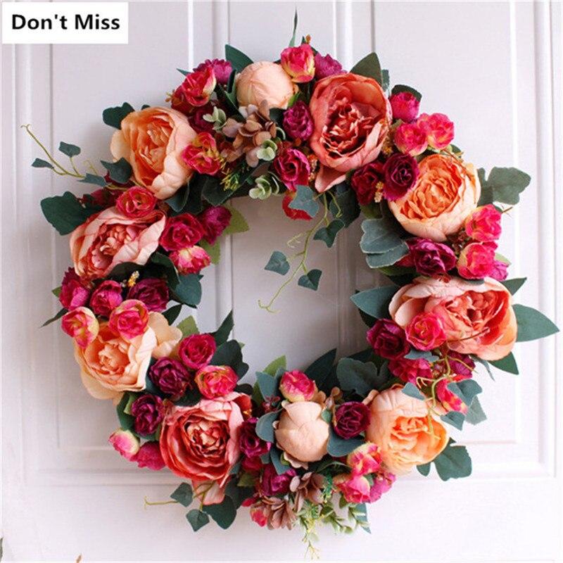 Ferme décor fleurs couronne De noël couronne porte décoration pâques Simulation fleurs guirlande Corona De Navidad Para Puerta