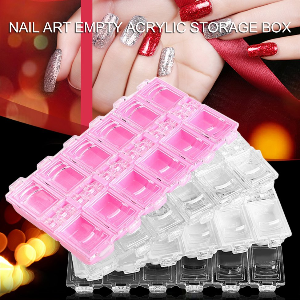 Acheter 5 pcs Blanc Nail Art BOÎTE De Rangement Vide Boîte De Rangement En Acrylique Strass Décoration Conteneur de Boîtes De Rangement fiable fournisseurs