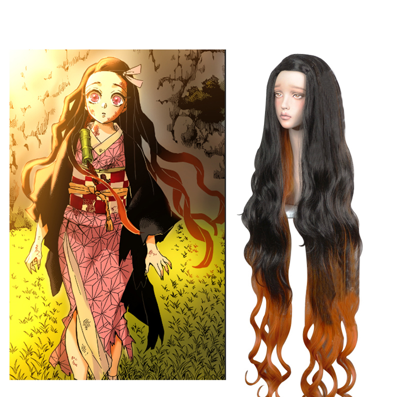 Kamado Nezuko Cosplay Wig Blade of Demon Slayer Kimetsu no Yaiba Halloween Anime 100cm Long Curly Hair Mixed Black Brown + Cap