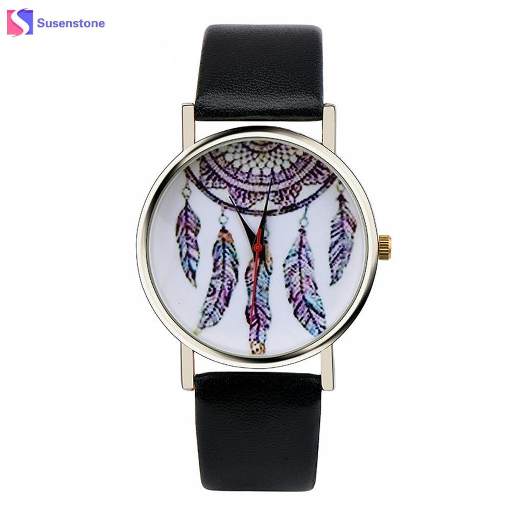 HOT New Fashion Women Watch Dream Catcher Pattern PU Leather Analog Quartz Vogue Wrist Watch Lady Dress Watches Clock стоимость