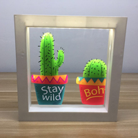 DELICORE Frame with white LED Light Flamingo Cactus Acrylic light up picture frame Wall Decoration Lamp USB and Battery P003
