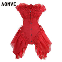 AONVE Lace Corset Dress Women Sexy Strapless Floral Embroidery Gothic Corset with Lace Skirt Wedding Party Corsets and Bustiers