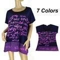BFDADI 2016 Hot Summer estilo Europeu Moda Casual loose-manga Curta Carta O-pescoço t-shirt Longo Das Mulheres Frete Grátis 450
